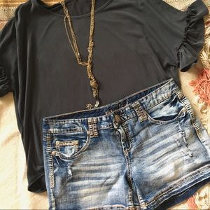 NWOT ✨ Maurices Distressed Embroidered Jean Shorts